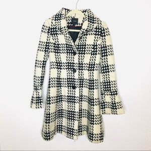 Express Houndstooth Pea Coat white and Black xsm